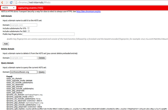 A view of chrome://net-internals/#hsts showing key pins for nonfreesoftware.org