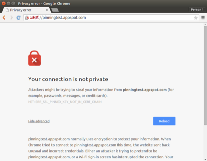 A screenshot of Chrome rejecting an invalid pin set.